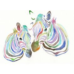 RESERVED FOR LAURE Original watercolor Painting - Colourful Zebras Rainbow Colors ($50) found on Polyvore