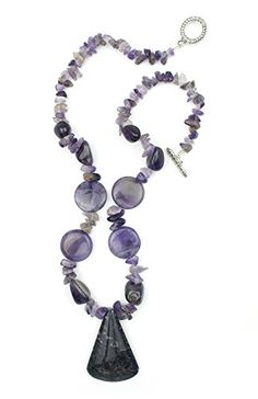"""Natural Stone Purple Charoite Big Pendant with Gem Chip Beads One of a Kind 18"""" Necklace Witch and Rich http://www.amazon.com/dp/B00QZQ9RJI/ref=cm_sw_r_pi_dp_WZ8jvb011XDW5"""