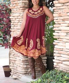 This Rust & Gold Floral Paisley Shift Dress - Plus by Ananda's Collection is perfect! #zulilyfinds