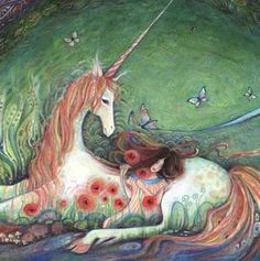 Unicorn Fairy Tale Art Print. via Etsy.  -- this would be lovely in a little girl's room, or my room... -- A