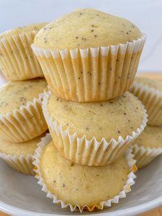 30 Minute Vegan Lemon Poppy Seed Muffins Vegan Gluten Free Desserts, Gluten Free Cakes, Vegan Dessert Recipes, Gf Recipes, Healthy Desserts, Free Recipes, Paleo, Keto, Healthy Recipes