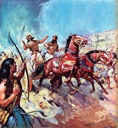 Canaanite charioteers being hit by enemy arrows, Battle of Megiddo