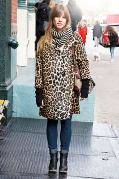 Allison wears a vintage cheetah coat in NYC
