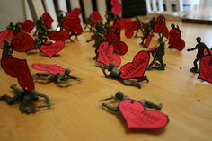 "Army men valentines with quote ""Love is a battlefield"""