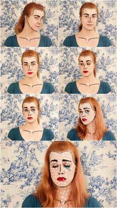maquillage Halloween pour femme inspiration par les bandes dessinées