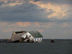The last house on Holland Island, Maryland, where 360 people lived before tides took over (file picture).