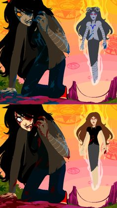 no one really understands how bloody homestuck is, since their blood is all rainbow and stuff. but once you change it to red, it just shows how violent and bloody it is. that's one reason why i love humanstuck art
