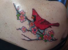 Cardinal tattoo with Apple blossoms Cardnial Tattoo, Mom Tattoos, Future Tattoos, Tatoos, Tree Tattoos, Elephant Tattoos, Animal Tattoos, Small Cardinal Tattoo, Cardinal Birds