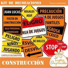 Kit de decoraciones Construcción $ 60.0 - Tarjetas Imprimibles, muchos carteles señaladores, seguridad.