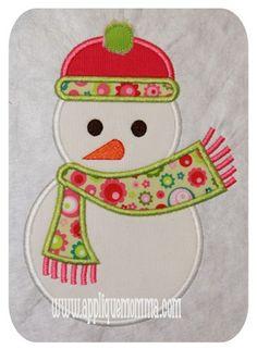 Scarf Snowman Applique Design