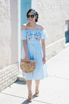 Top 8 Blue and White Summer Dresses, striped off the shoulder midi dress, cult gaia ark bag, sum ...