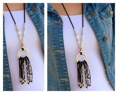 ee4197588f60 Artículos similares a Leather Tassel Necklace Women 50 Jewelry Silver  Circle Pendant Silver Beaded Jewelry Casual Necklace Modern Long Pendant en  Etsy
