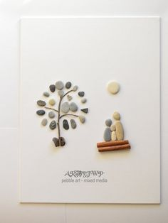 Unique Pebble Art  Family under a tree by ARTbyJWP on Etsy