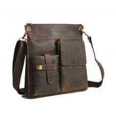 cowhide vintage brown leather messenger bag 176$