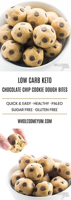 Low Carb Keto Protein Cookie Dough Bites Recipe - See how to make homemade edible cookie dough that's gluten-free and sugar-free! These low carb keto protein cookie dough bites are delicious, healthy, and EASY.