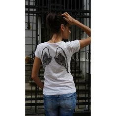 New Collection White Cotton Angel Tee Handmade Oversize White T-Shirt... ($49) ❤ liked on Polyvore featuring tops, t-shirts, black, women's clothing, cotton tee, oversized t shirt, white cotton tee, short t shirt and print t shirts