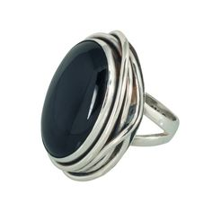 Changing Tides Glamourous 925 sterling silver wide band ring styled with riveting oval black onyx stone. Wide Band Rings, Riveting, Black Onyx, Fashion Rings, Garnet, Opal, Finger, Gemstone Rings, Bling