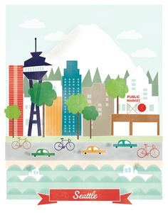 Seattle art print illustration - 11x14 - mountain city buildings washington space needle. $20.00, via Etsy.