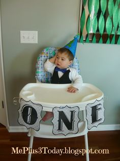 Baby boy first birthday party,  ONE on highchair - includes link to printables