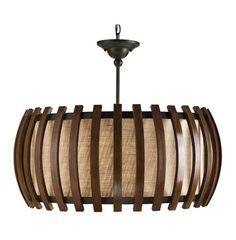 Dadelus Wood and Burlap Slat Mid Century Style Pendant Lamp