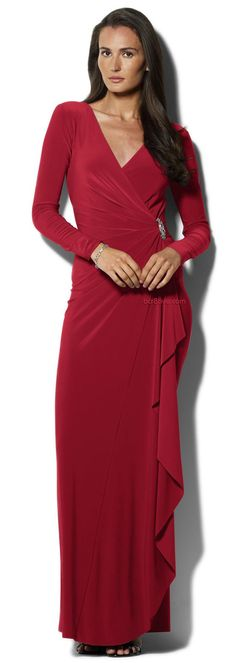 Lauren Ralph Lauren Long Sleeve Surplice Jersey Gown
