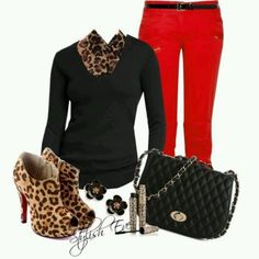 Tiger & Leopard Outfits 2013 for Women by For work would substitute red jeans for slacks and booties with animal print or black heel or flat depending on work environment. Red Jeans Outfit, Leopard Shoes Outfit, Leopard Print Outfits, Red Pants, Leopard Prints, Red Leopard, Leopard Boots, Leopard Scarf, Leopard Animal