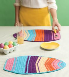 Easter Egg Placemats - free pdf download at crochet today - They look like surf boards to me :-)))))