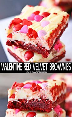 Valentine Red Velvet Brownies are a thick and chewy brownie recipe topped with w. Valentine Red Velvet Brownies are a thick and chewy brownie recipe topped with white chocolate frosting and Valentine sprinkles. Perfect for your sweetie. Low Carb Cheesecake, Cheesecake Recipes, Dessert Recipes, Dessert Ideas, Red Velvet Brownies, Valentine Desserts, Valentines Food, Valentines Recipes, Valentine Cupcakes
