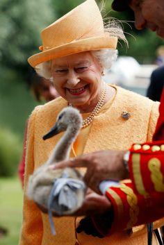 Elizabeth with a swan