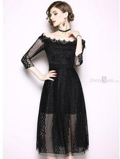 07b7c61b8bf9 Buy Embroidery Boat Neck Big Hem A-Line Dress at DressSure.com Color: