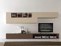 Parete attrezzata componibile laccata con porta tv CF63 | Parete attrezzata - Presotto Industrie Mobili