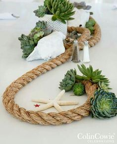 Love this funky up cycling idea for an amazing beach table decoration. Mixed with foliage and shells this is the perfect finishing touch to a romantic beach wedding reception. Nautical Centerpiece, Diy Centerpieces, Centerpiece Flowers, Nautical Wedding Decor, Nautical Theme, Masquerade Centerpieces, Nautical Rope, Decor Wedding, Table Nautique
