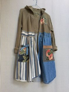 US$98.00 Upcycled Hoodie Sweater Hoodie Cardigan by SimplyCathrineAnn