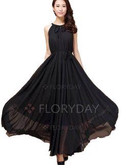 Dresses - $43.08 - Chiffon Solid Sleeveless Maxi Casual Dresses (1955103079)