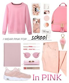 """pink"" by jasmimestefany ❤ liked on Polyvore featuring Thrive, Oliver Peoples, Ted Baker, Korres, MICHAEL Michael Kors, Iphoria, Paper Mate, Casetify, Puma and Urban Decay"