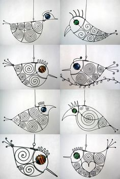 .wire birdies...3D art project mobiles