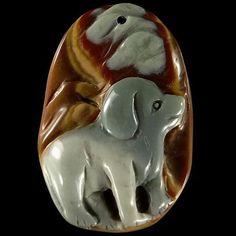 Natural Hand Carved Cameo Dog Succor Creek Jasper Pendant Bead #Handmade #Pendant