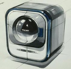 Cartoon Sketches, Cool Sketches, Sketch Design, Design Art, Sketch Inspiration, Design Inspiration, Small Washing Machine, Copic Drawings, Industrial Design Sketch