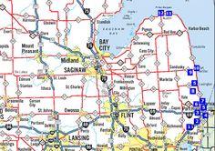 Michigan Blue Water Map food tour