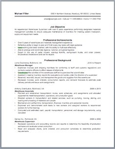 warehouse manager resume - Sample Warehouse Manager Resume