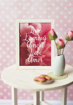 Miniature framed Valentine poster in 1:6 scale Barbie by Katjuss