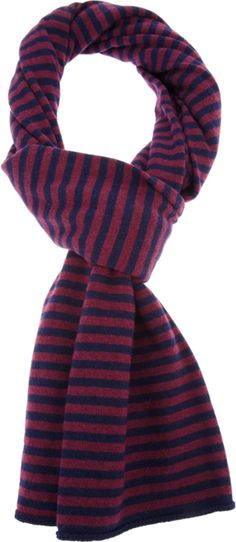 Red and navy cashmere and wool blend scarf from Société Anonyme featuring a striped print and finished edges.