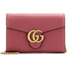 Gucci GG Small Leather Shoulder Bag (33.630 CZK) ❤ liked on Polyvore featuring bags, handbags, shoulder bags, pink, red handbags, red purse, red leather handbags, genuine leather shoulder bag and pink leather purse