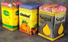 nice banquitos con latas vintage
