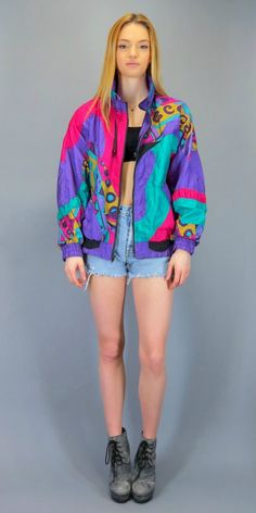 Vintage 80s 90s Windbreaker Bright Abstract Swirl Geometric Bomber Retro Zip Up Track Jacket Fresh Prince of Bel Air Hipster Color Block Pink Purple Green Gold Colorblock