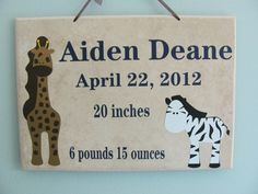 Great idea for a very special baby gift: vinyl lettering and animals were cut on a KNK Maxx and applied to a tile.