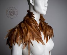 Light brown feather Shoulder piece Tan feather by MetamorphDK