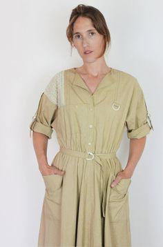 vintage beige dress / safari khaki dress  / full skirt shirtwaist dress