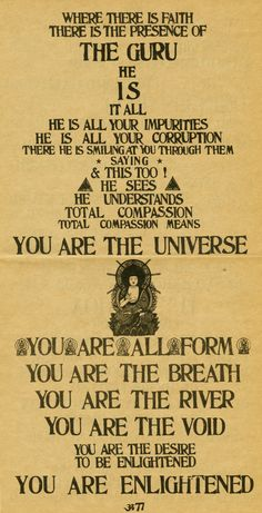 """Remember, Be Here Now - by Ram Dass (formerly Richard Alpert, Timothy Leary's LSD sidekick - is the original New Age guide. For its influence on the post-Hippie and subsequent Spiritual movements, it has been described as a """"countercultural bible"""" - first released in 1971, it's sold over a million copies."""