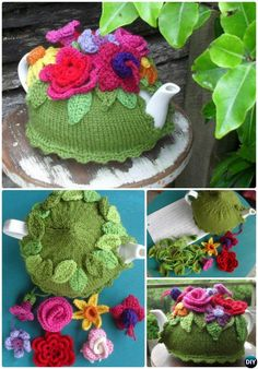 Knit Spring Explosion Flower Tea Cozy Free Pattern-Crochet Knit Tea Cozy Free Patterns